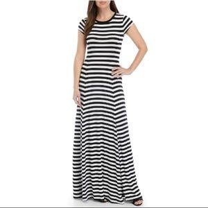 MICHAEL Michael Kors Short Sleeve Stripe Maxi Dres